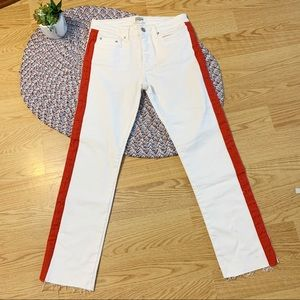 Zara mid rise shaped jeans with orange striped